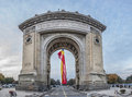 Triumphal arch in bucharest front view Royalty Free Stock Photos