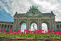 Triumphal arch in cinquantenaire parc the brussels belgium Royalty Free Stock Image