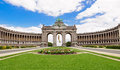 The Triumphal Arch in Cinquantenaire Parc in Brussels, Belgium w Royalty Free Stock Photo