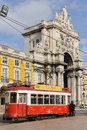 Triumphal arch in commerce square lisbon portugal augusta street ends up a open to the praça do comércio is Royalty Free Stock Photo