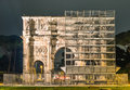 Triumphal arch of costantine in rome restoration works frontal view the majestic Royalty Free Stock Images
