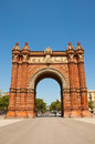 Triumphal arch in neo moorish style barcelona on july spain Royalty Free Stock Image