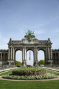 Triumphal arch in the Parc du Cinquantenaire in Brussels Royalty Free Stock Photo