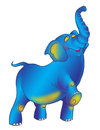 Triumphantly striding proudly blue elephant with a raised trunk Stock Photo