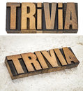 Trivia word in wood type vintage letterpress isolated text and one on a ceramic tile background Stock Photography