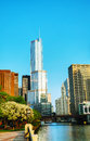Troef internationale hotel en toren in chicago il in ochtend Stock Afbeelding