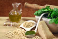 Trofie with pesto ingredients and pesto sauce Royalty Free Stock Photography