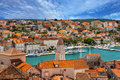 Trogir, Croatia, town panoramic view, Croatian tourist destinati Royalty Free Stock Photo
