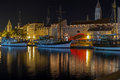 Trogir promenade night waterfront Croatia. Royalty Free Stock Photo