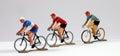 Trois métal cyclists modèle Image stock
