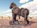 Trojan Horse at Troy Royalty Free Stock Photo