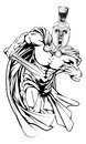 Trojan mascot character an illustration of a warrior or sports in a or spartan style helmet holding a sword Stock Photos