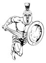 Trojan warrior character an illustration of a gladiator or sports mascot in a or spartan style helmet holding a sword and shield Stock Photography