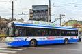 Trolley bus solaris modern on a street in gdynia poland Stock Photo