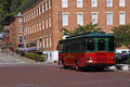 Trolley and DeSoto House Hotel in Galena, Illinois Stock Photo