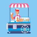 Trolley with ice cream. Ice cream cart market. Vector illustration