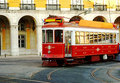 Trolley on lisbon portugal street Royalty Free Stock Photo