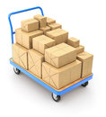 Trolley with post packages Royalty Free Stock Photo