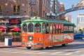 Trolley Tour in Gaslamp District in San Diego Royalty Free Stock Photo
