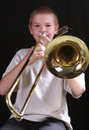 Trombone för 4 spelare Fotografering för Bildbyråer