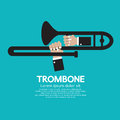 Trombone vector illustration musician hands playing Stock Photos