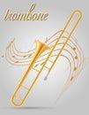 Trombone wind musical instruments stock vector illustration