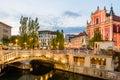 Tromostovje in the city center of Ljubljana