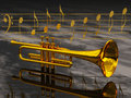 The trompet trumpet and notes Royalty Free Stock Photography