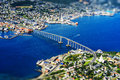 Tromso bridge from high altitude mountain bokeh background Royalty Free Stock Photo