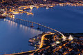 Tromso Bridge by night - northern Norway Royalty Free Stock Photo