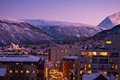 Tromso cityscape aerial view of at dusk norway Stock Image