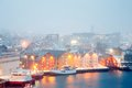 Tromso cityscape winter mist norway aerial view of at dusk with Royalty Free Stock Photo