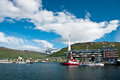 Tromso harbor in norway scenic view of boats moored Stock Image