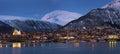 Tromso by night panorama Royalty Free Stock Photo