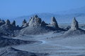 Trona setting shows pinnacles from sci fi setting of takes to to other planets with unusual non earthly landscaping Stock Photography