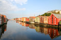 Trondheim colourful houses reflecting in the water norway Stock Image