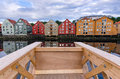 Trondheim view gangplank for tourists on city canal Stock Image