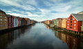 Trondheim view over the river nidelven in norway Stock Images