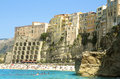 Tropea beach with cliffs and houses Royalty Free Stock Photography