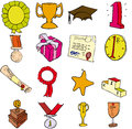 Trophies etc selection of aawards and prizes Royalty Free Stock Photo