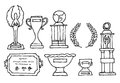Trophies and prizes set cartoon illustration of Stock Image