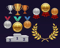 Trophy awards gold cup and golden laurel wreath, medals and sports podium