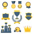 Trophy and awards icons set Stock Images