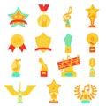 Trophy awards icons set flat vector illustration.
