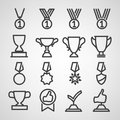 Trophy and awards icons set vector illustration Stock Photo