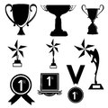Trophy and awards set illustration in black color Royalty Free Stock Photography