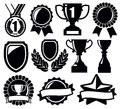 Trophy and awards vector black icons set Royalty Free Stock Photos
