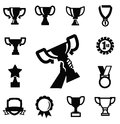 Trophy and awards vector black icons set Stock Photos