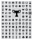 Trophy and awards vector black icons set Royalty Free Stock Image