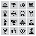 Trophy and awards vector black icons set Stock Photography